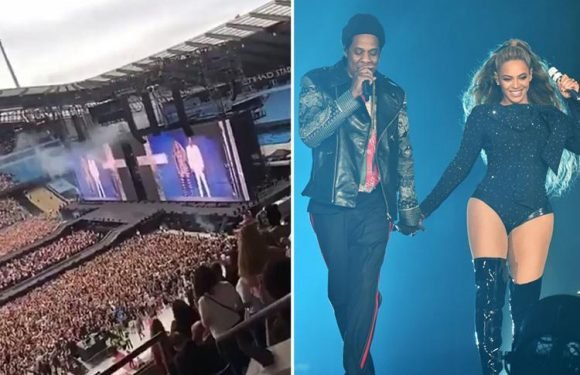 Beyonce and Jay Z's Manchester concert is packed after they gave away free tickets in the car park