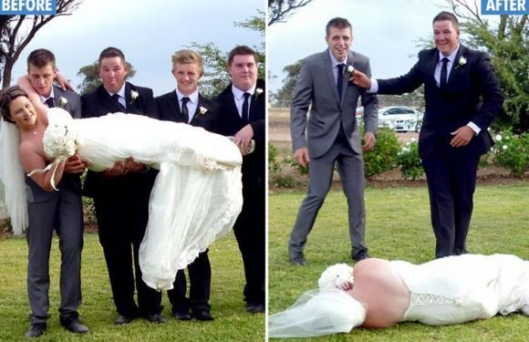 Clumsy husband and groomsmen send bride crashing to the ground during wedding day snaps