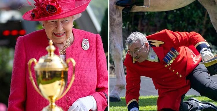 Royal footman tumbles from his horse at Royal Ascot as Queen attends for a third day and presents Gold Cup to Frankie Dettori