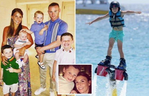 Thrill-seeker Kai Rooney, 8, blasts off on a jetboard during family getaway in Barbados