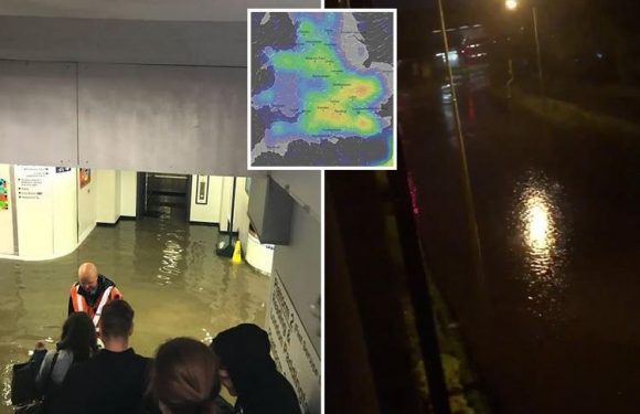 Commuters face fresh travel chaos as heavy rain and thunderstorms cause flooding and power cuts across UK