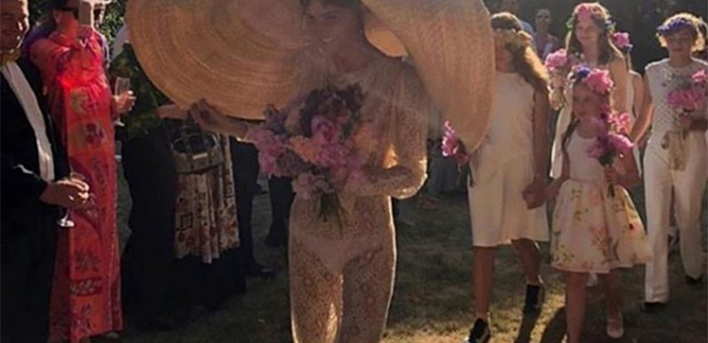 Danish actress's wedding day overshadowed by enormous hat