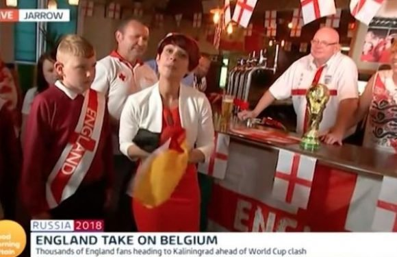 Good Morning Britain viewers outraged after presenter uses German flag to wipe down pub bar