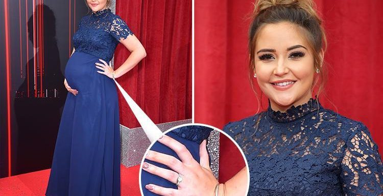 British Soap Awards 2018: Pregnant Jacqueline Jossa hits the red carpet solo but keeps her wedding ring ON after husband Dan Osborne is accused of sleeping with Gabby Allen