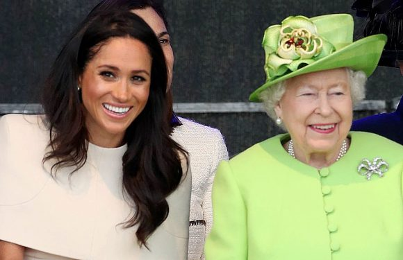 Queen Shows Meghan Markle the Ropes at First Solo Engagement: Pics