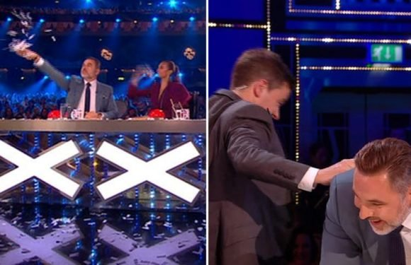 BGT's Declan Donnelly tells David Walliams 'I'm going to smash your face in' before smacking him on the BUM after comic chucks confetti at him