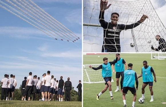 England stars given ultimate send off from Red Arrows ahead of flight to Russia
