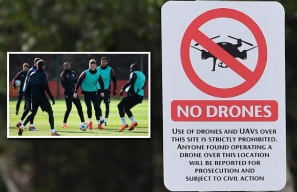 Manchester United put up signs banning drones near training ground over spy fears