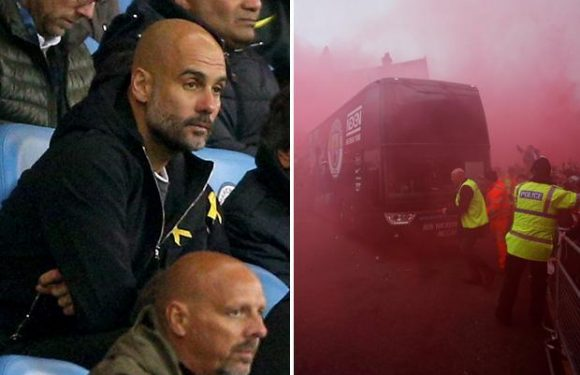 Pep Guardiola given Champions League touchline ban as Liverpool escape with fine after fans smash up Man City bus