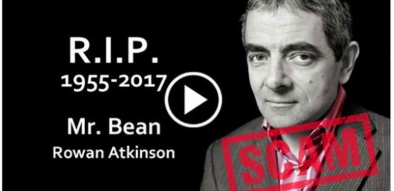 Fake news posts claiming Rowan Atkinson has died are 'linked to a scam'