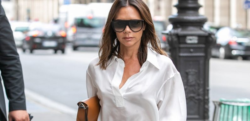 Hey, Victoria Beckham's Perfect White Summer Sandals! Reveal Yourselves From Under That Skirt!
