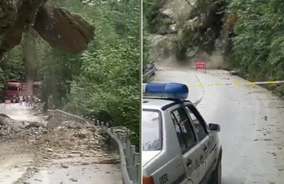 Terrifying footage shows mountainside collapses onto a road in China