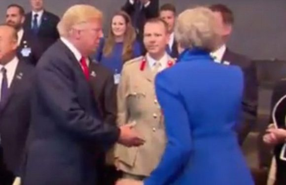 Theresa May dodges Donald trump handshake at Nato