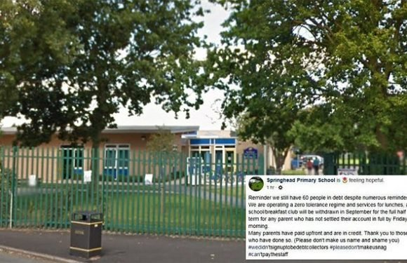 Primary school will name and shame parents who haven't paid for meals