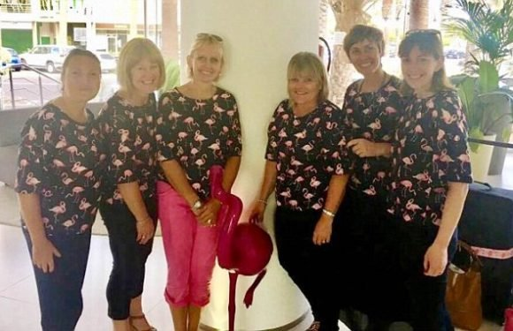 Six mums who go on holiday always flock together with flamingo outfits