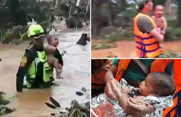 Thai cave rescue team save baby four days after Laos dam collapse