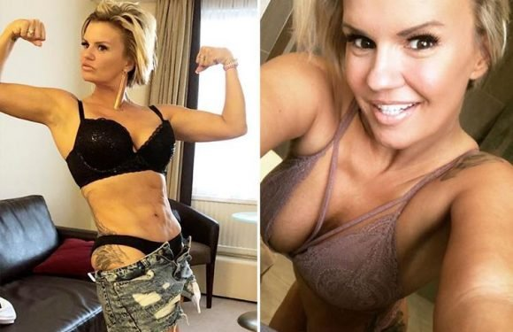 Kerry Katona flexes her muscles in her underwear as she shows off results of fitness regime