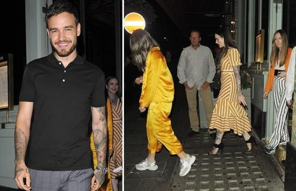 Liam Payne flashes a huge smile as he leaves restaurant with group of women less than a month after announcing Cheryl split