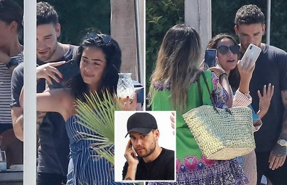 Liam Payne is surrounded by female fans in Cannes before taking a tense-looking phone call after flying back to the UK