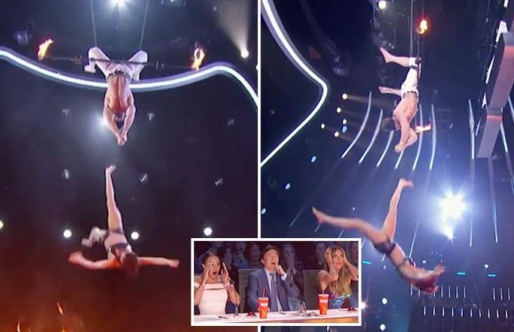 America's Got Talent judges gasp in horror as trapeze act goes wrong and woman plunges towards the ground