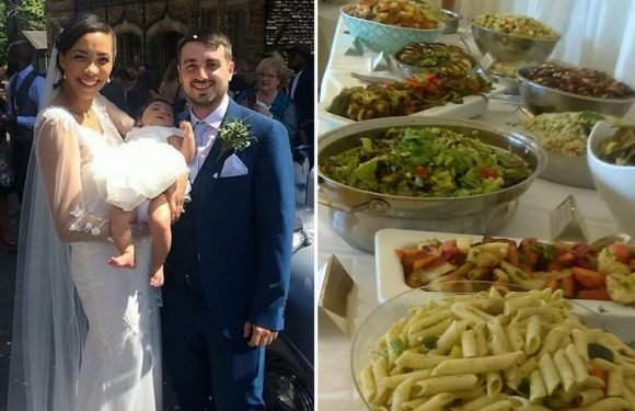 Bride and groom use food destined for the BIN to feed their 140 wedding guests for just a fiver a head