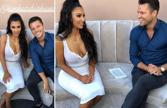 Mark Wright can't stop grinning as he interviews Kim Kardashian at KKW Beauty event