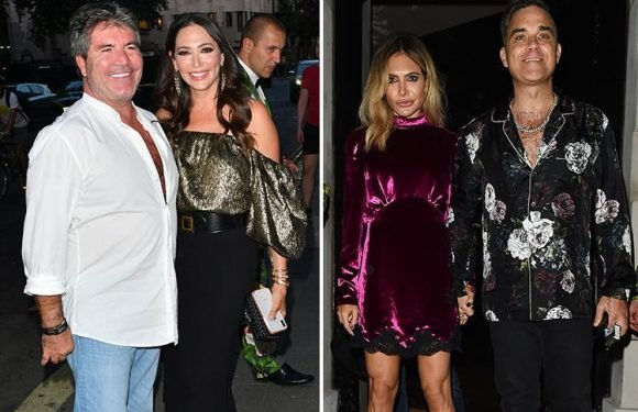 Simon Cowell and Lauren Silverman celebrate her 40th birthday on double date with new X Factor judges Robbie Williams and Ayda Field