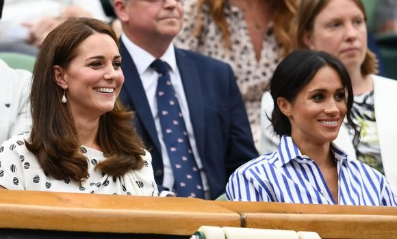 Meghan Markle Wears White Culottes at Wimbledon to Watch Serena Williams with Kate Middleton
