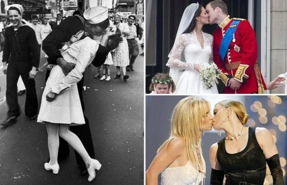 International Kissing Day 2018 is today! Famous kisses in history including Kate Middleton and Prince William's wedding day