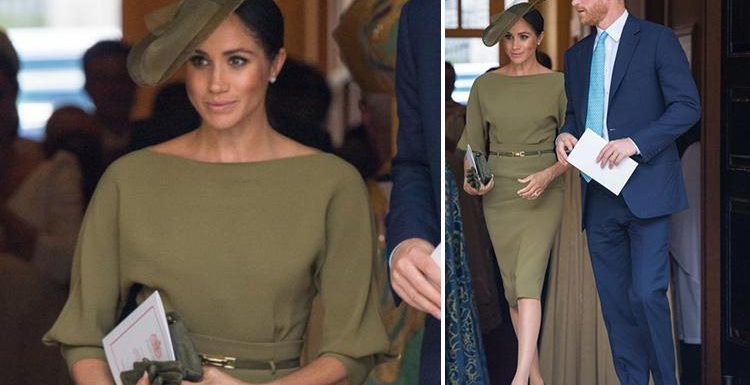 Aunty Meghan Markle is glam in olive green Ralph Lauren at Prince Louis' christening