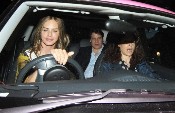 Telly host Trinny Woodall closes her eyes and meditates while driving