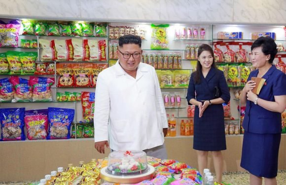 Dictator Kim Jong-Un looked like a kid in a sweet shop as he inspected North Korea's array of sugary treats