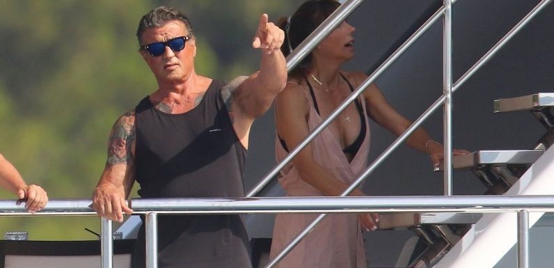 Sylvester Stallone's three daughters leap off giant yacht on French Riviera hol