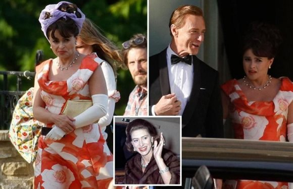 Helena Bonham Carter pictured on The Crown set as Princess Margaret for the first time as she joins co-star Ben Daniels