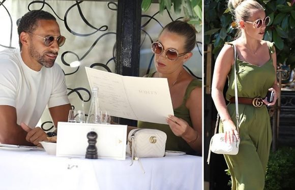 Kate Wright and Rio Ferdinand enjoy a romantic lunch in Mayfair