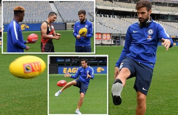 Chelsea stars including Cesc Fabregas and Pedro try their hand at Aussie Rules Football during training session at the WACA