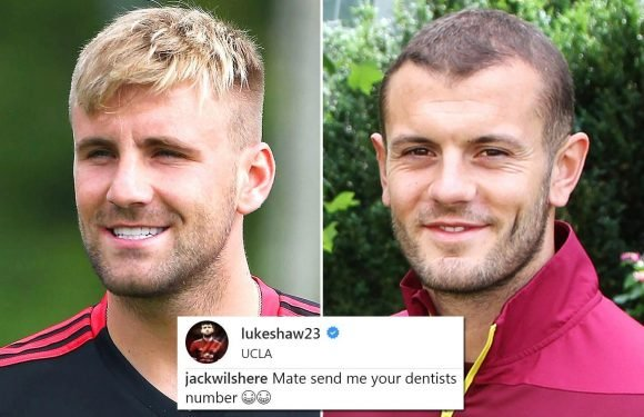 Manchester United star Luke Shaw trolled by Jack Wilshere over pearly white smile as he does pre-season with Jose Mourinho's side