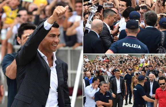 Cristiano Ronaldo has Juventus medical as he gets plugged into doctor's medical equipment at Allianz Stadium and signs autographs for fans