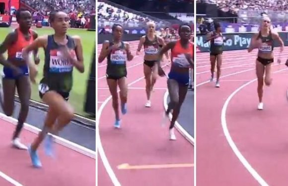 Ethiopian runner Fantu Worku bizarrely 'finishes' half a lap early during race at the London Anniversary Games