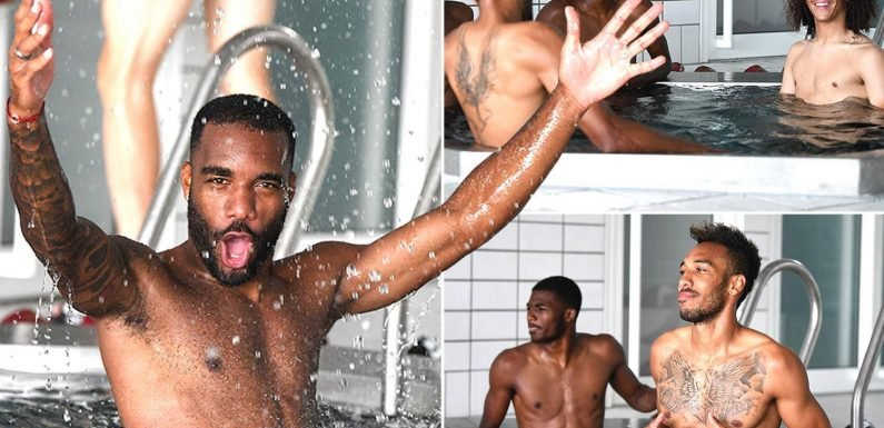 Arsenal stars relax in pool after losing behind-closed-doors friendly to Brentford