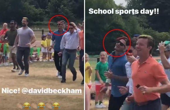 Victoria Beckham shares video of David running in the bean bag race at daughter Harper's school sports day