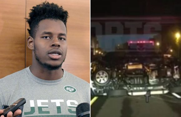 Police footage shows awful wreckage of Jets rookie's DWI crash
