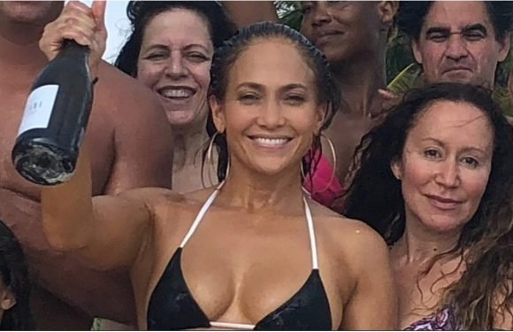 "Jennifer Lopez's Tiny Black Bikini Gives the Phrase ""Birthday Suit"" a Whole New Meaning"