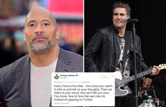 The Rock gets into bizarre feud with Busted's Charlie Simpson after musician slams Jumanji movie