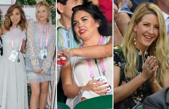Scarlett Moffatt sticks to the Wimbledon dress code in chic white dress as joins stars Ellie Goulding and Emma Willis for the first day of tennis
