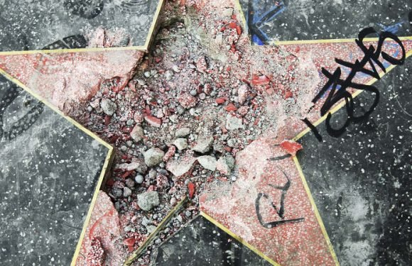Donald Trump's 'star' on the Walk of Fame destroyed