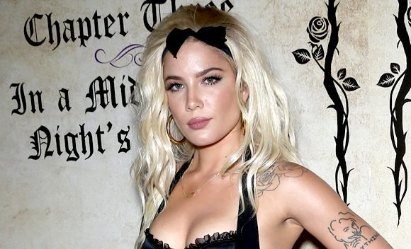 Halsey Reveals Butt In Racy Thong Bustier, Garter Belt & Stockings At Playboy Party