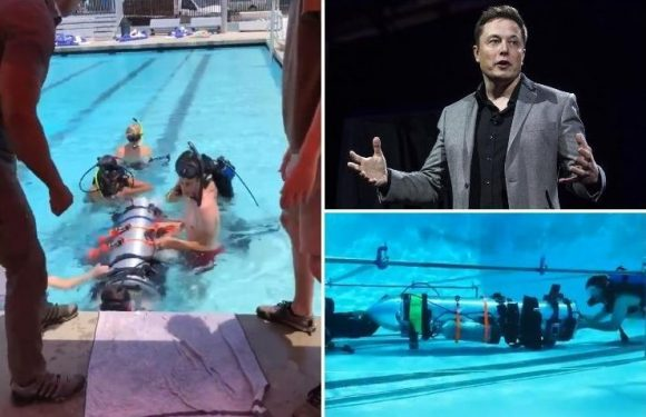 Elon Musk tests out mini-submarines that will arrive in Thailand TODAY to help rescue cave boys