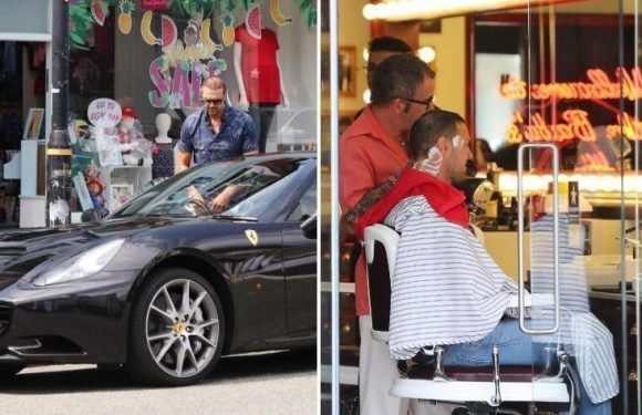 Paddy McGuinness struts out of the barbers and into £160k Ferrari after getting haircut