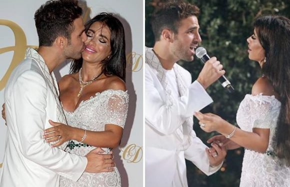 Chelsea midfielder Cesc Fabregas sings to new wife Daniella Semaan during glitzy Ibiza party